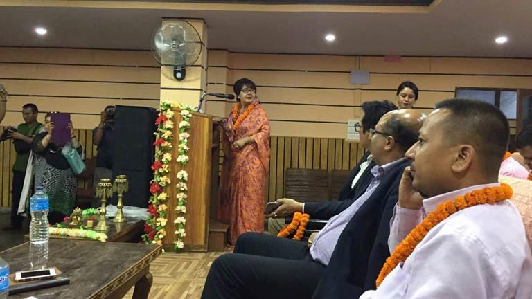 FNCCI-WEDC Chairman delivering speech - Inauguration of the Interaction Program on the Role of Women Entrepreneurs