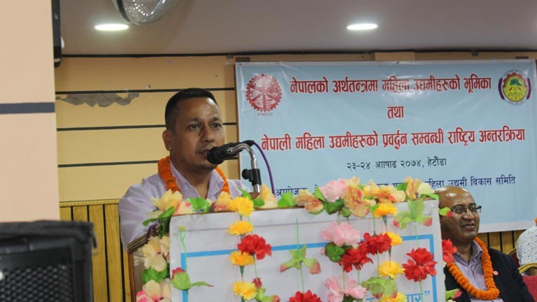 Makawanpur CCI President delivering the welcome speech